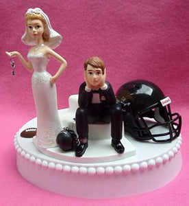 Jacksonville Jaguars wedding cake topper NFL football Jags bride groom ball and chain humorous helmet ball reception sports fans fun