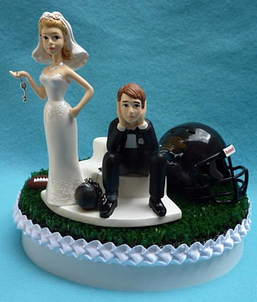 Wedding Cake Topper - Jacksonville Jaguars Football Themed Key Jags (We DO Have, and WILL USE the New/Current Helmet...)