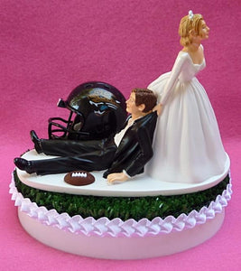 Jacksonville Jaguars cake topper wedding NFL football funny bride dragging groom humorous sports