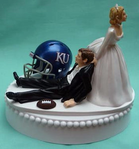 University of Kansas wedding cake topper KU Jayhawks football groom's cake top funny humorous bride drags groom reception gift Fun Wedding Things