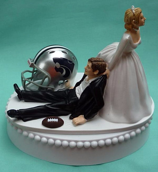 Wedding Cake Topper - Kansas St. University Wildcats Football Themed State KSU