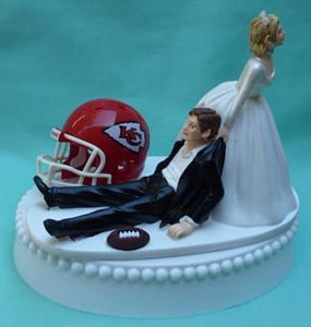 Kansas City Chiefs wedding cake topper KC groom's cake top Turf green football fans fun
