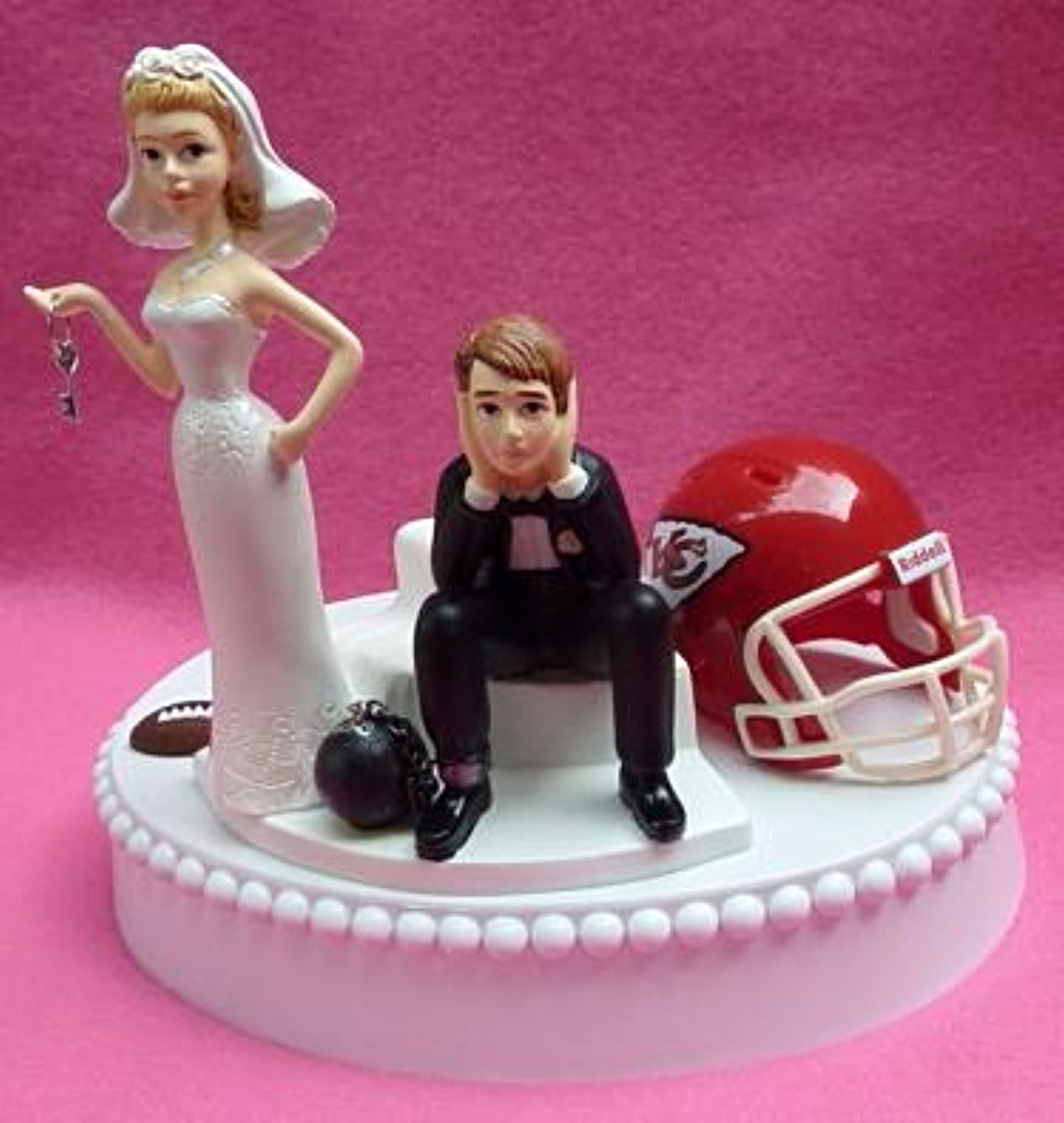 Kansas City Chiefs cake topper wedding NFL football KC bride dejected groom ball and chain key humorous funny sports