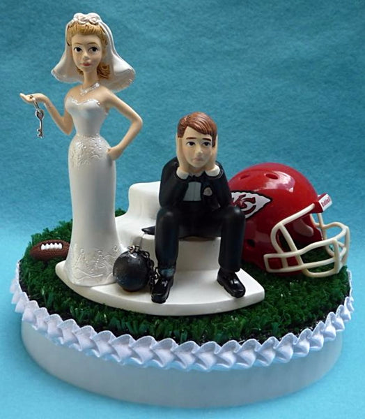 Wedding Cake Topper - Kansas City Chiefs Football Themed Key KC