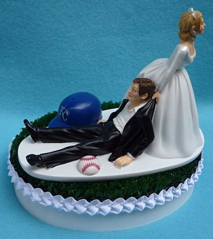 Kansas City Royals wedding cake topper KC MLB baseball fans bride dragging groom green turf humorous funny spors