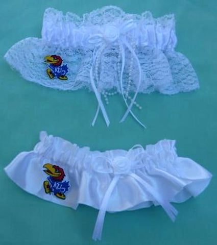 University of Kansas bridal garter set KU Jayhawks wedding garters toss keepsake reception Fun Wedding Things