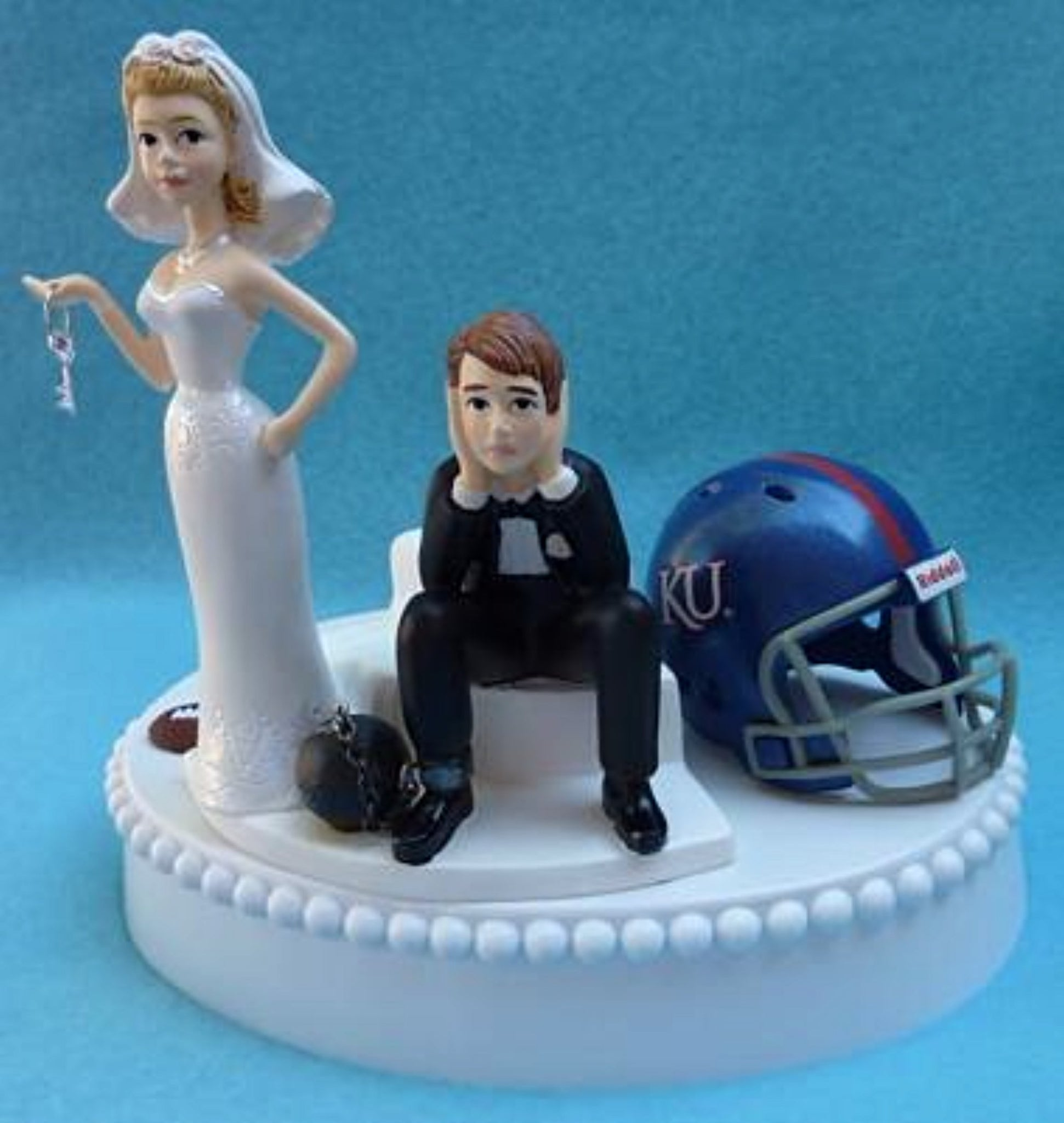 Kansas Jayhawks wedding cake topper University of KU football funny bride sad groom ball chain key humorous Fun Wedding Things