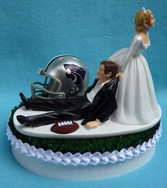 Kansas St. University wedding cake topper KSU Wildcats State football groom's cake top bride dragging green turf helmet ball humorous reception Fun Wedding Things