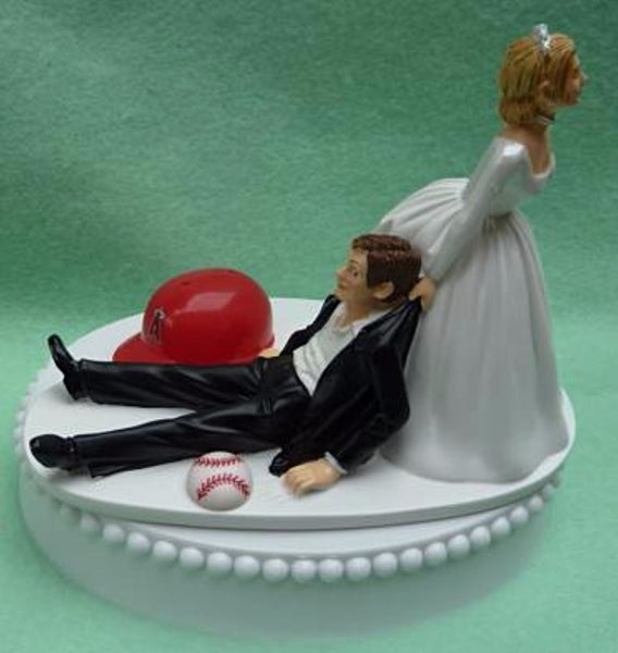 Los Angeles Angels of Anaheim wedding cake topper groom's cake top MLB baseball sports fans fun bride dragging groom humorous funny