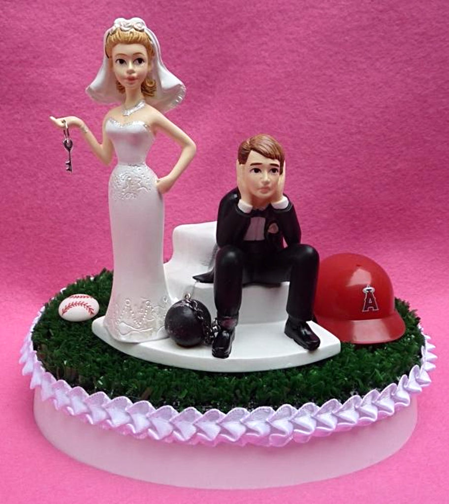Remarkable Wedding Cake Topper Los Angeles Angels Of Anaheim Baseball Funny Birthday Cards Online Elaedamsfinfo