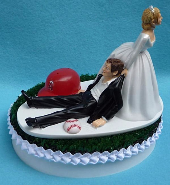 Wedding Cake Topper - Los Angeles Angels of Anaheim Baseball Themed L.A.