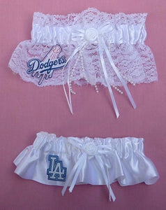 Los Angeles Dodgers garter wedding garters bridal LA baseball MLB L.A. reception fun toss keepsake sporty lace satin Fun Wedding Things