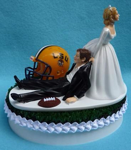 Wedding Cake Topper - Louisiana St. University Tigers Football Themed State LSU