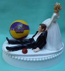 LSU basketball wedding cake topper Louisiana St. University Tigers sports fans bride groom funny humorous Fun Wedding Things