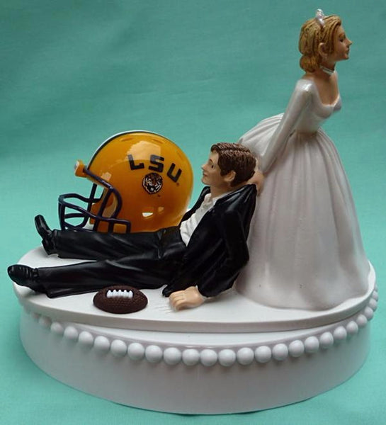 LSU Tigers wedding cake topper Louisiana St. University State groom's cake top football sports fans fun bride dragging groom humorous reception gift Fun Wedding Things