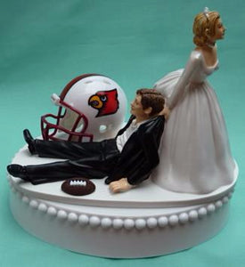 University of Louisville Cardinals wedding cake topper UL Cards football sports groom's cake top humorous funny bride drags groom reception gift sports fans Fun Wedding Things