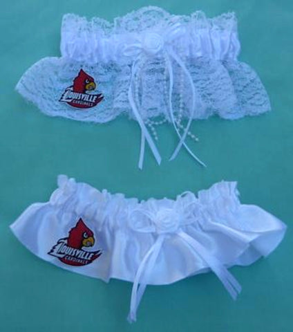 Louisville Cardinals bridal garter set University of wedding garters fans reception Fun Wedding Things