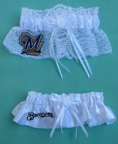 Milwaukee Brewers garter wedding garters bridal set MLB baseball fans sports fun reception bride groom toss keep Fun Wedding Things
