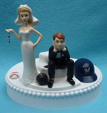 Milwaukee Brewers cake topper wedding MLB baseball groom's cake top humorous bride key ball chain sports fans reception fun
