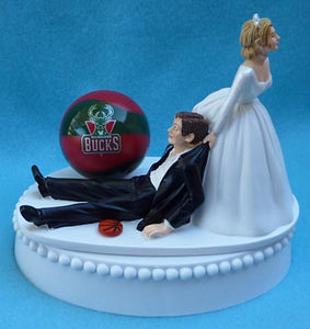 Milwaukee Bucks wedding cake topper basketball fans bride groom humorous NBA sports sporty funny Fun Wedding Things
