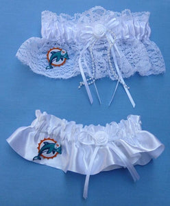 Miami Dolphins Wedding Garters NFL Football Bridal Garter Set
