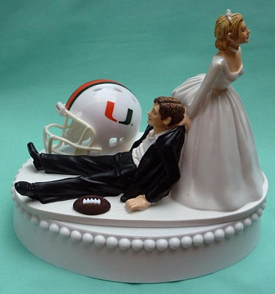 Wedding Cake Topper - University of Miami Hurricanes Football Themed UM Canes
