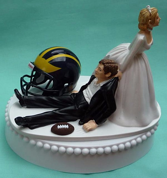 Michigan Wolverines wedding cake topper University of Michigan football groom's cake top UM humorous bride dragging groom sports fans Fun Wedding Things reception