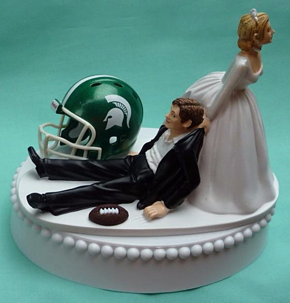 Wedding Cake Topper - Michigan St. University Spartans Football Themed State MSU