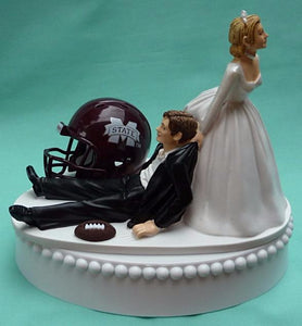 Mississippi St. wedding cake topper Bulldogs MSU State football groom's cake top humorous bride dragging groom sports helmet ball funny reception Fun Wedding Things