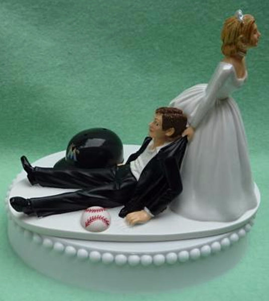 Wedding Cake Topper - Miami Marlins Baseball Themed