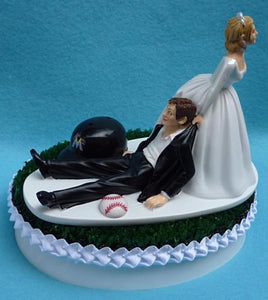 Miami Marlins wedding cake topper groom's cake top MLB baseball sports fans fun green turf Astroturf reception gift item