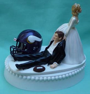 Minnesota Vikings wedding cake topper NFL football bride drags groom humorous funny unique sports fan reception