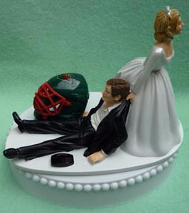 Minnesota Wild cake topper wedding groom's cake top NHL hockey sports fans funny bride dragging groom puck helmet reception gift Fun Wedding Things