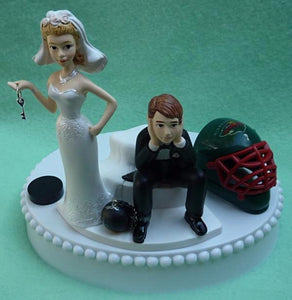 Minnesota Wild wedding cake topper hockey NHL sports fans bride groom humorous funny Fun Wedding Things puck helmet mask reception gift item idea unique