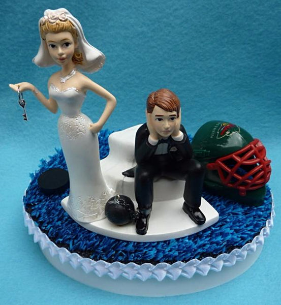 Wedding Cake Topper - Minnesota Wild Hockey Themed Key
