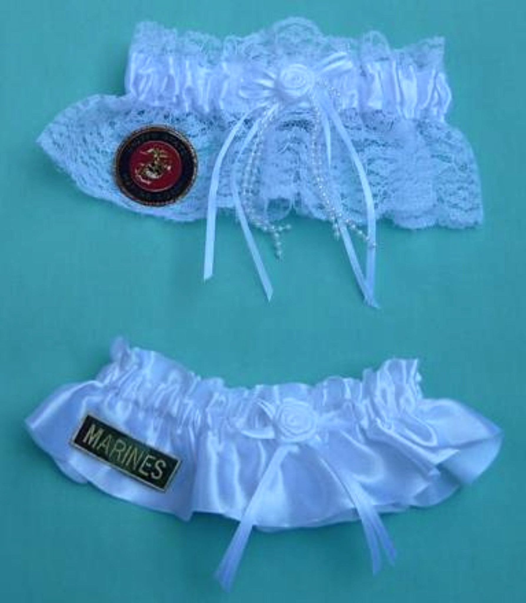 Marines wedding garter U.S. Marine Corps bridal garter set USMC enlisted military service reception gift Fun Wedding Things