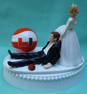 Miami Hurricanes basketball wedding cake topper University of U of M Canes funny humorous bride groom Fun Wedding Things