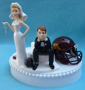 Minnesota Golden Gophers wedding cake topper University of football funny bride sad groom ball chain key humorous Fun Wedding Things