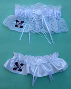 Mississippi State Bulldogs wedding garter set MSU St. University bridal garters Fun Wedding Things