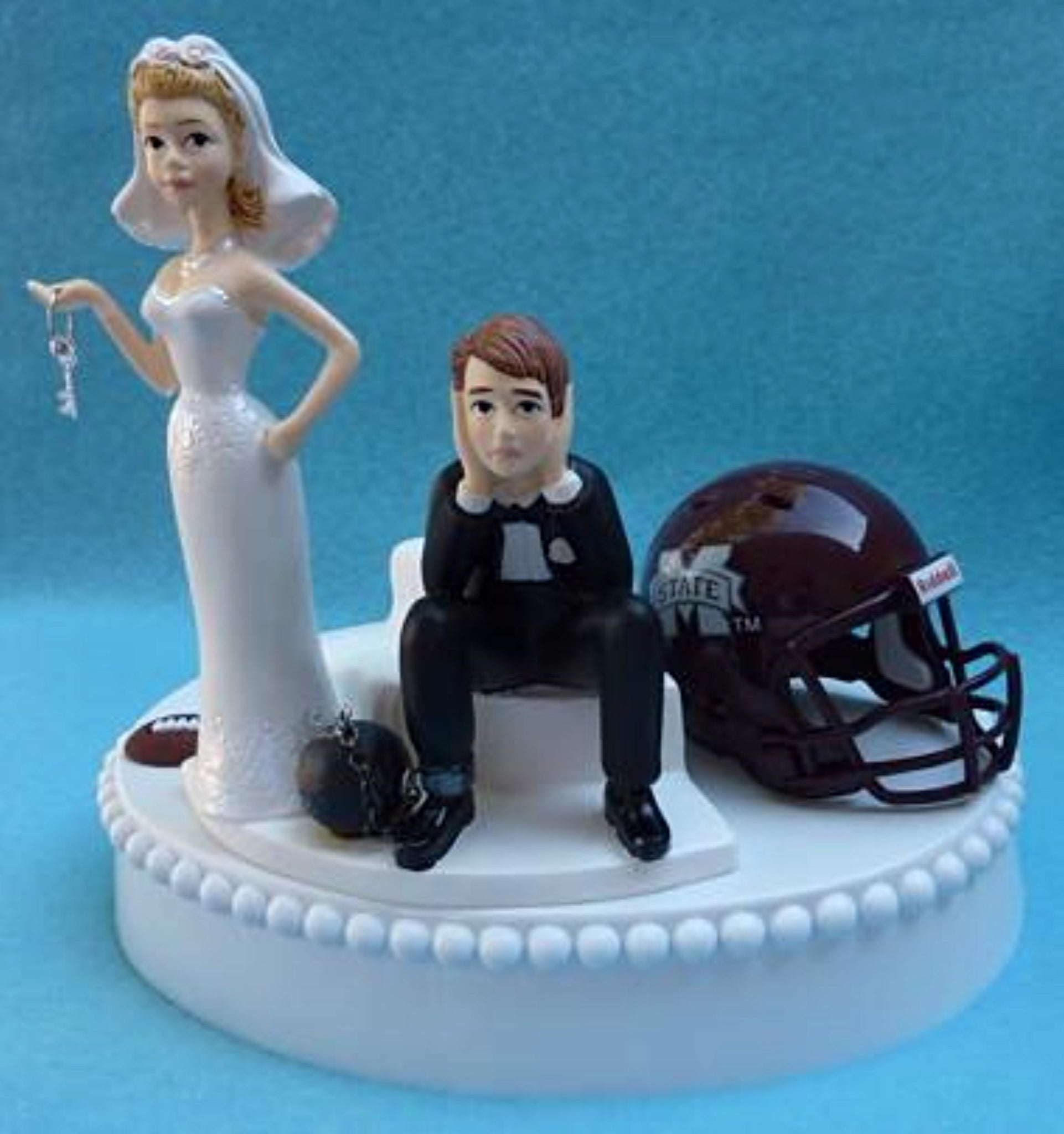 MSU Bulldogs wedding cake topper Mississippi St. University football humorous bride sad groom ball chain key sports funny Fun Wedding Things