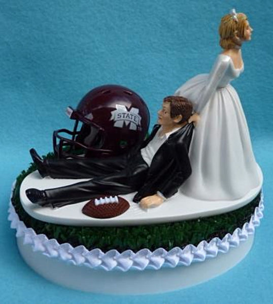 Wedding Cake Topper - Mississippi St. University Bulldogs Football Themed State MSU