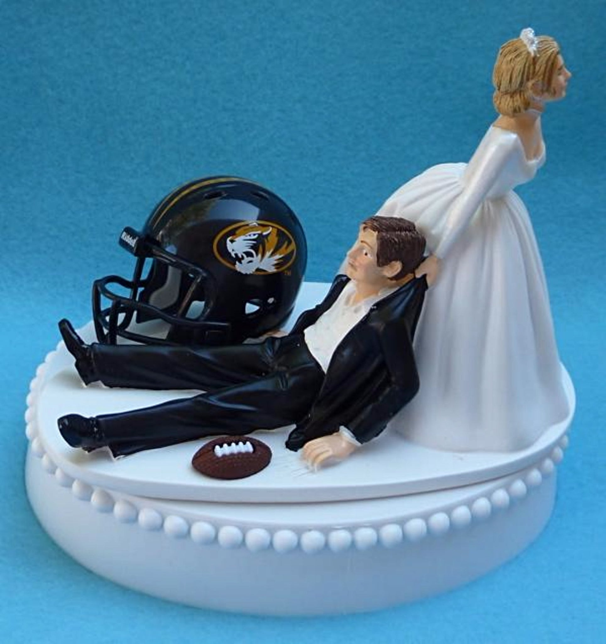 University of Missouri Tigers wedding cake topper football UM Mizzou groom's cake top sports fans fun humorous reception gift bride dragging groom Fun Wedding Things
