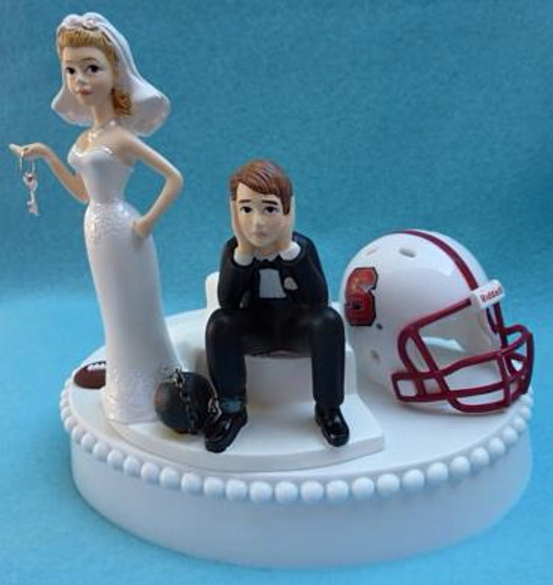 NCSU Wolfpack wedding cake topper North Carolina St. University football bride sad groom humorous ball chain key funny Fun Wedding Things