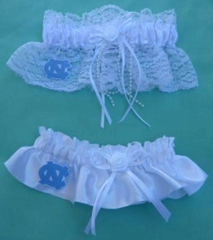 University of North Carolina UNC wedding garter set Tar Heels bridal garters fans reception Fun Wedding Things