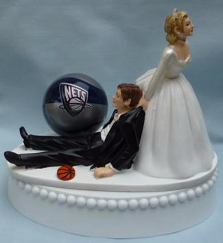 Brooklyn Nets wedding cake topper NBA basketball sports fans fun bride dragging groom humorous funny Fun Wedding Things