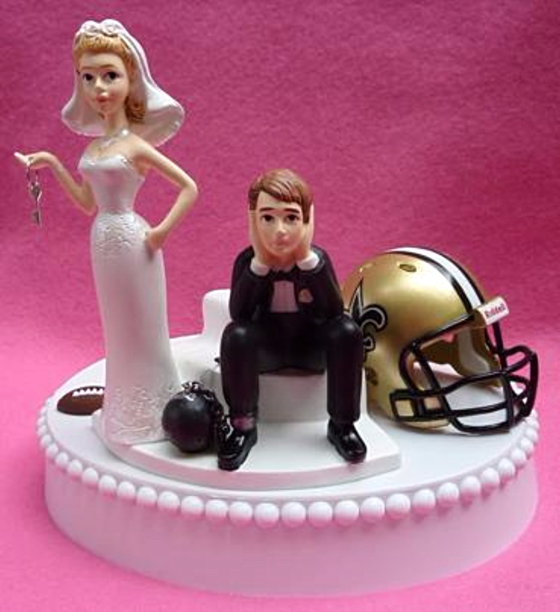Wedding Cake Topper - New Orleans Saints Football Themed Key
