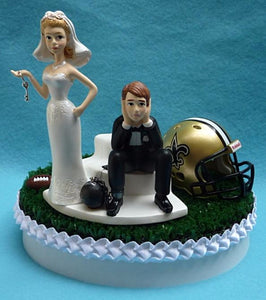 New Orleans Saints wedding cake topper funny humorous NFL football fans unique reception gift item idea funny