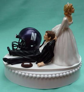 Northwestern University wedding cake topper NU Wildcats football themed groom's cake top humorous funny bride dragging groom reception gift item sports Fun Wedding Things