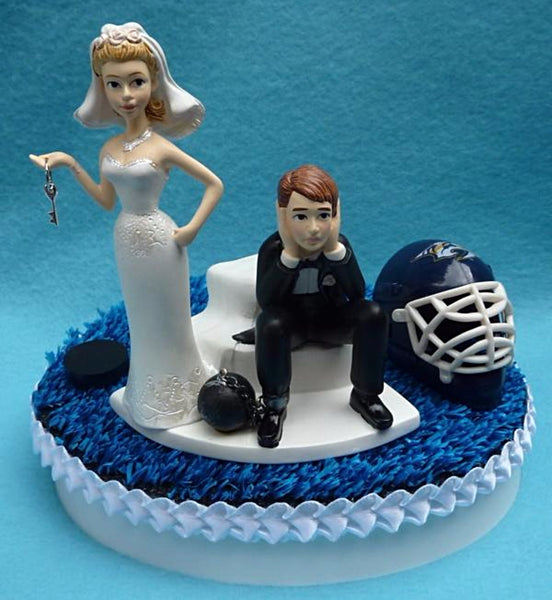 Wedding Cake Topper - Nashville Predators Hockey Themed Key Preds