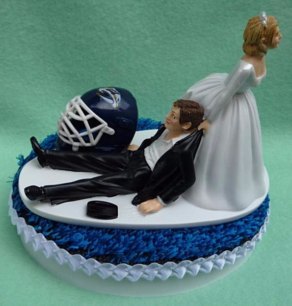 Nashville Predators cake topper NHL hockey groom's cake top Preds humorous bride drags groom blue ice turf mask helmet puck Fun Wedding Things
